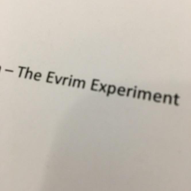 Evrim Experiment