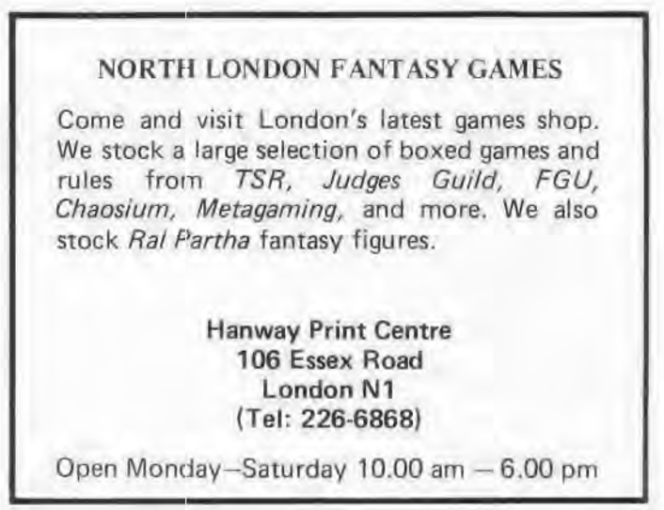 North London Fantasy Games WD10 Dec Jan 1978 1979