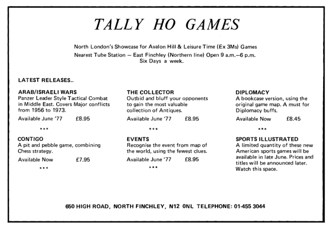Tally Ho Games WD 1 June July 1977