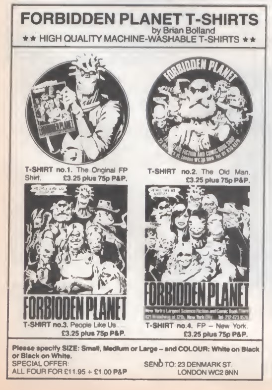 03 Forbidden Planet Tshirts SB37 1981